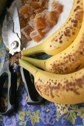 Speckled bananas, ripe for banana bread