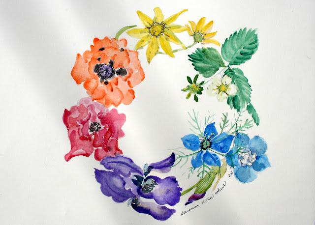 Watercolor Color Wheel Watercolor Sketch of Color