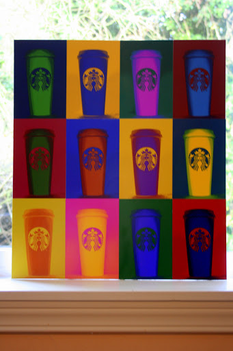 Collage of Starbucks coffee cups with pop art effect