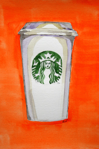 Watercolor sketch of iconic Starbucks coffee cup