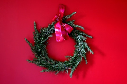 Homemade rosemary wreath