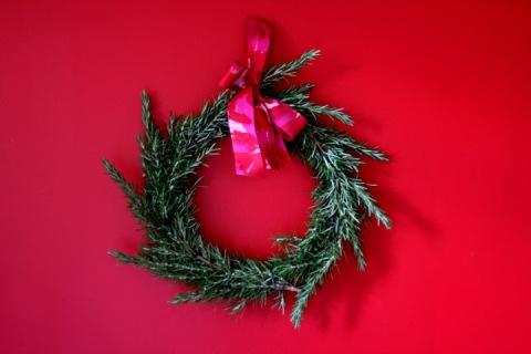 Homemade rosemary wreath