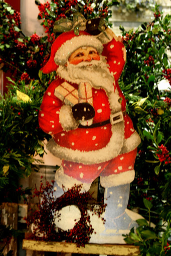 Vintage Santa and holly from J Foss Garden Flowers