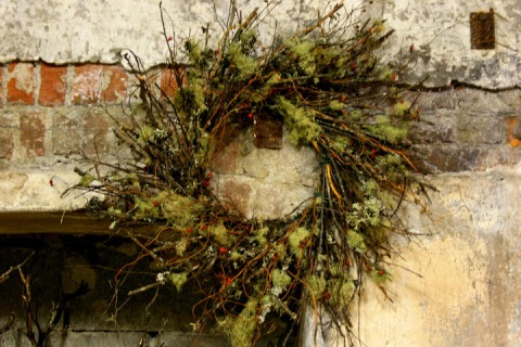 The moss softens the texture of this twiggy wreath from Oregon's Best Specialty Growers