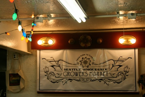 Seattle Wholesale Growers Market and twinkling lights