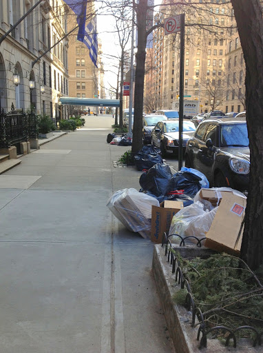 Garbage lining the street in the Upper East Side