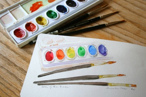 Watercolor sketch, tools of the trade
