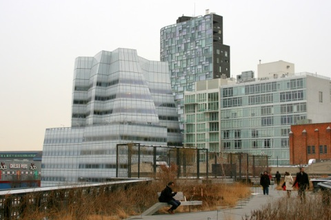 First view of IAC Headquarters building designed by Frank Gehry
