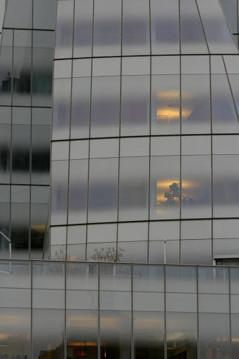 Lights glow in the windows