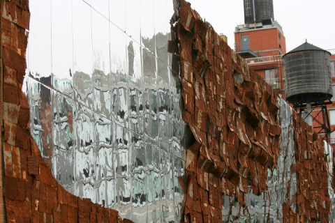 Art installation called Broken Bridge II by El Anatsui