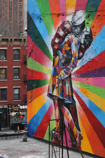 Wall art viewed from the High Line