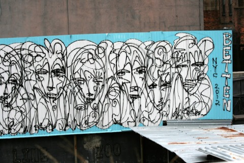 Nearby wall art seen from High Line