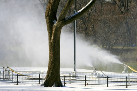 Snow-making machine at work