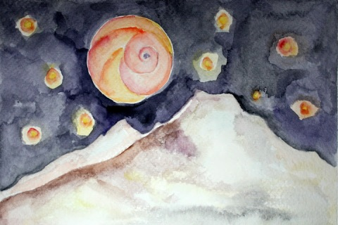 Moon Snail Shell # 93, watercolor painting