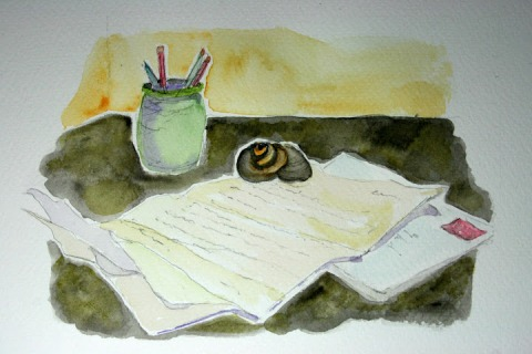 "Moon Snail Shell # 55, watercolor sketch of ""snail mail"""