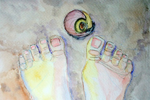 Moon Snail Shell # 85, watercolor painting