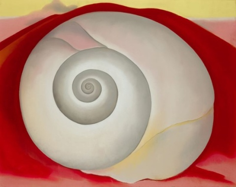 """White Shell with Red"" by Georgia O'Keeffe, 1938"