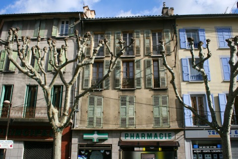 Old shuttered buildings, Digne
