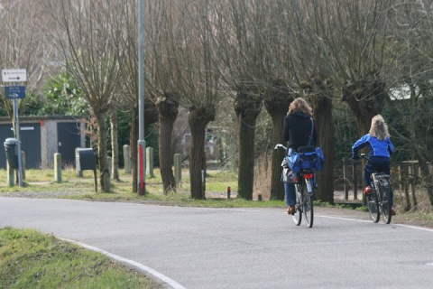 Mother and daughter biking along a canal in Haarlem
