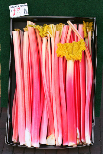 Rhubarb for sale at a green grocer in Delft