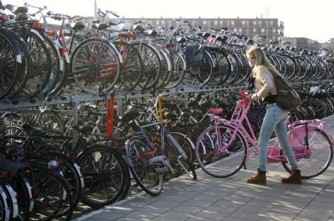 Double-decker bike parking near the train station in Delft