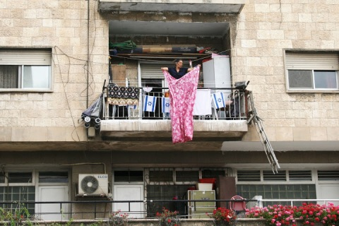 Using a balcony for storage, Jaffa Road, Jerusalem