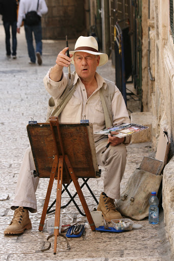 Plein air painter in the Old City