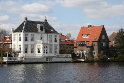 Lovely old canal houses along the River Spaarne