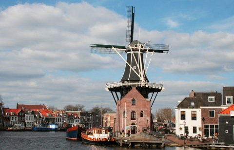 De Adrianne windmill in Haarlem; notice the short rail track from the water to the mill.