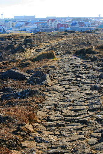 Hard path on the bluff over Keflavik