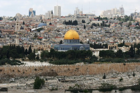 Dome of the Rock and the old walled city of Jerusalem viewed from the Mount of Olives, across the Kidrone Valley