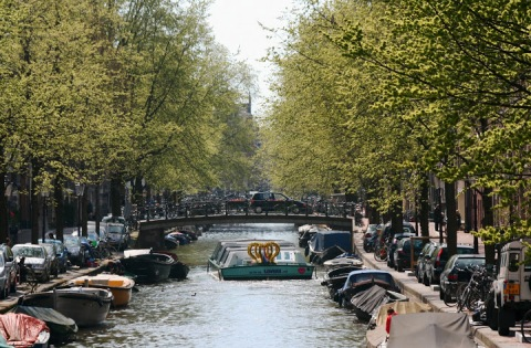 Canal tour boat decorated for the investiture of King Willem-Alexander on April 30th