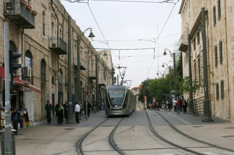 Light rail alone the Jaffa Road, Jerusalem