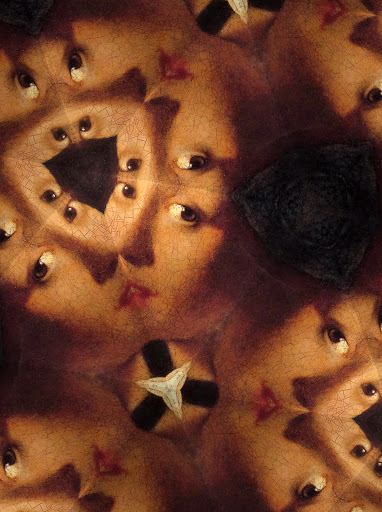 Girl with a Pearl Earring by Johannes Vermeer with kaleidoscope effect.  Vermeer was born in Delft.