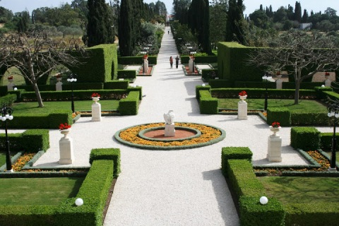 The center walkway, Baha'i Gardens, Akko