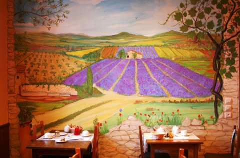 Wall mural in the breakfast room at my hotel, the Hotel de Provence, Digne