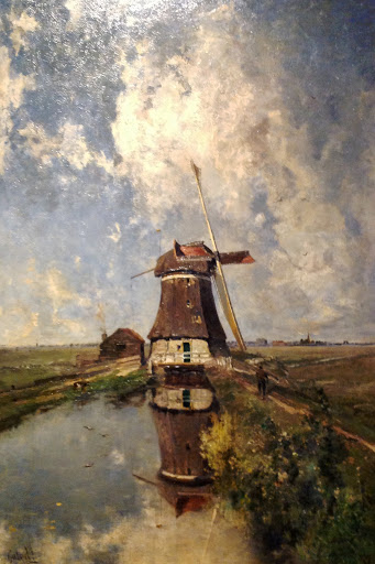 """In the Month of July"" showing a windmill on a polder waterway by Paul Joseph Constantin Gabriel, Rijksmuseum collection"