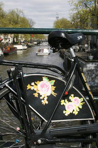 Decorative bike guard on a canal in Amsterdam