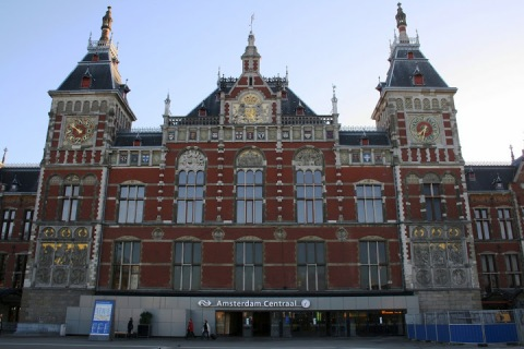The central train station in Amsterdam