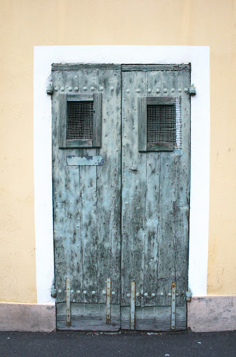 Weathered blue doors