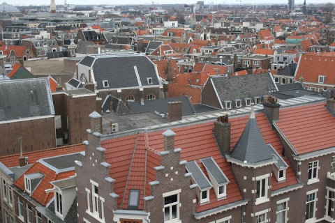 Rooftop view of Haarlem from the 6th floor cafeteria in the V&D Department Store