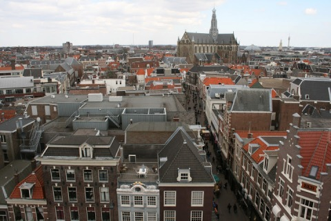 Rooftop view of Haarlem with Grote Kerk dominating the city's center square