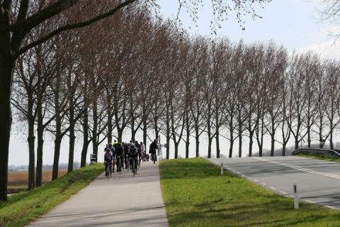 Weekend bikers aon a trail near Zaanse Schaans (example of trail between towns)