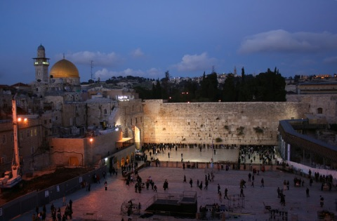Visiting the Western Wall at sunset