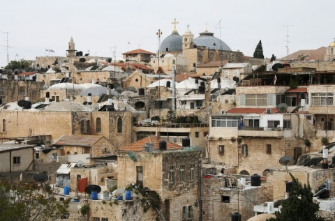 Rooftop view of the Old City of Jerusalem from atop the Austrian hospice