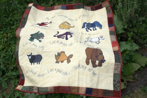 Handmade appliqued quilt of Brown Bear, Brown Bear