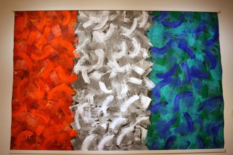 Painting by Eric Carle, acryllic on Tyvek, Tacoma Art Museum