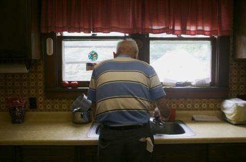 Dad at the kitchen sink