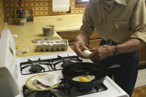 Dad making breakfast