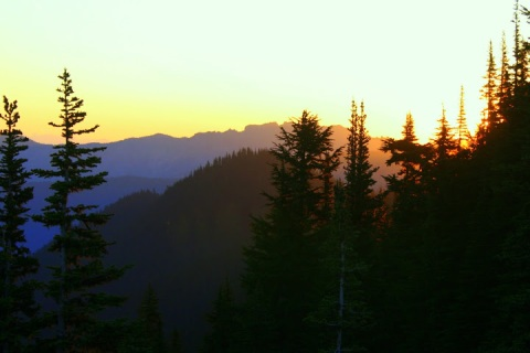 Watching the sunrise at Sunrise Point, Mount Rainier National Park